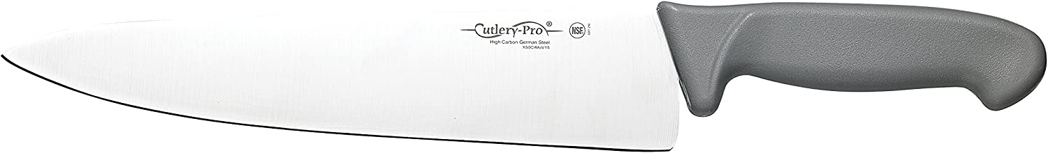 Cutlery-Pro Gourmet Chef's Knife, Professional Quality, NSF Approved, German Carbon Steel (X50CrMov15), 10-Inch Blade