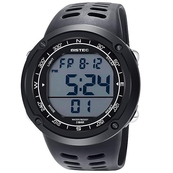 BISTEC Hombres del LED Digital Display reloj resistente al agua deportes al aire libre con Metal Case Negro banda: Amazon.es: Relojes