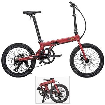 Qualisports - Bicicleta eléctrica híbrida de 20 pulgadas con minibicicleta eléctrica plegable y batería de iones de ...