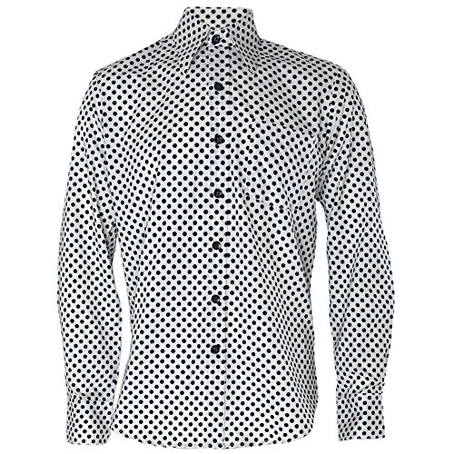 Mens White Black Polka Dot Psychedelic Hippy Pop Art Shirt - XL
