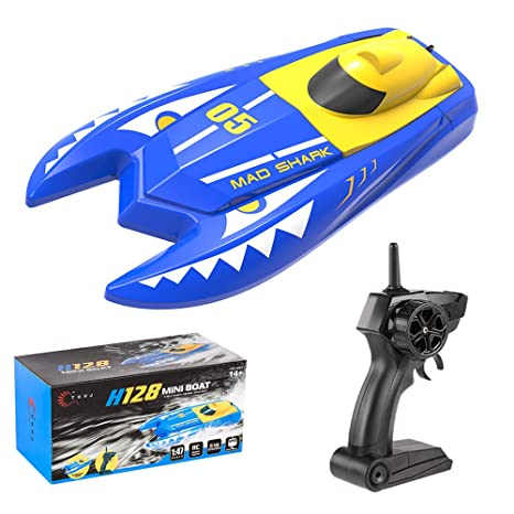 Teeggi Remote Control Boats Toys for Pools and Lakes - H128 Mini RC Boats  for Kids or Adults, Self Righting High Speed Boat Toys 1/47 2 4GHz Dual