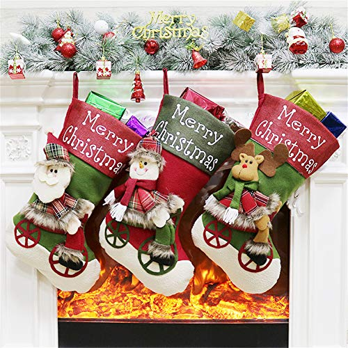 (YAMUDA Christmas Stockings, 3 Pack Classic Socks for Xmas Home Decor, Stuffed Christmas Tree Hanging Toys, Candy Gift Bag Holders for Mantle, Restaurant Hotel Decorations and Party Supplies (Xmas-05))