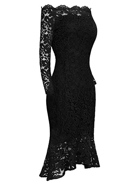 Women s Boat Neck Off Shoulder Vintage Floral Lace Mermaid Cocktail Formal  Dress at Amazon Women s Clothing store  2a61c58d4