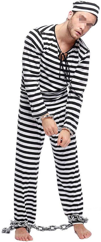 Conjunto de 4 Piezas de Uniforme para Hombre con Gorro + Blusa + pantalón + Esposas para Disfraz de Halloween de Prisionero de la cárcel - Negro - Large: Amazon.es: Ropa y accesorios