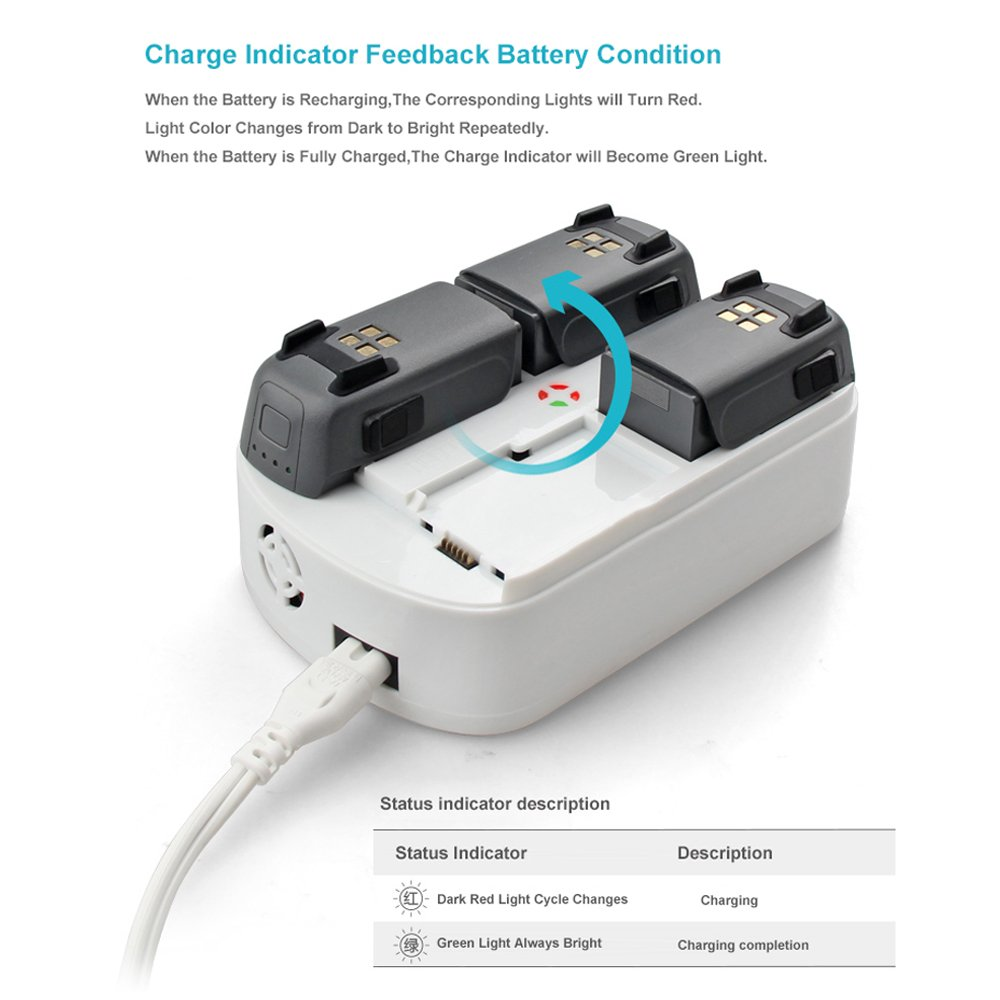 9d45bbff6b9 Amazon.com: Bonfook DJI Spark Multi Charger, 6-in-1 Rapid Parallel Battery  Charger Station Intelligent Charging Hub Replacement Kit for Spark  Accessories: ...