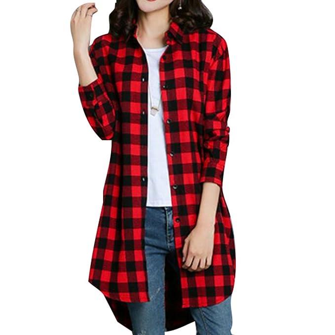 Camisa Cuadros Mujeres Manga Larga - Blusas Tartán Tops Botón Abajo Tshirt Asimétricos Abrigo Largo 7