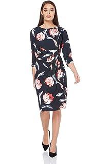 f23b6ade8376 Roman Originals Women s Side Drape Floral Dress - Ladies Dresses for Smart  Formal Special Evening Occasions