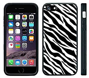 Apple iPhone 6 Black Rubber Silicone Case - Zebra Pattern Print Faux Animal Pattern