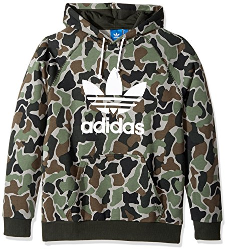 adidas Originals Men's Originals Trefoil Hoodie, Black/Grey Camo, S