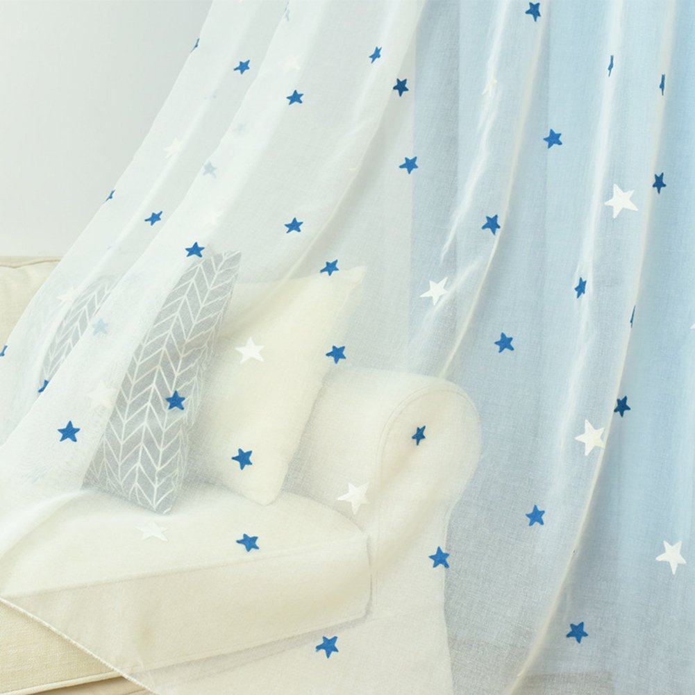 Aside Bside Sheer Curtains Cute Style Rod Pocket Top Blue Stars Embroidered Permeable Window Decoration For Kitchen Sitting Room and Child Room (1 Panel, W 52 x L 63 inch, White)