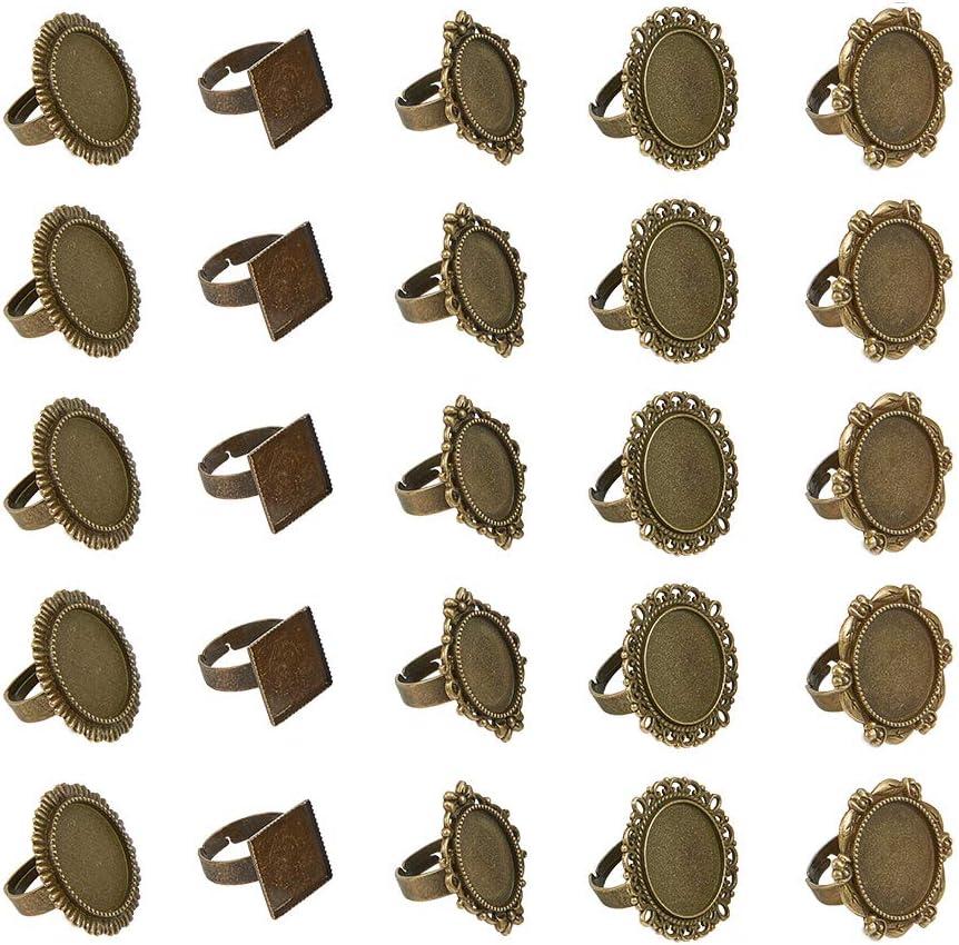 PandaHall 5 estilos de 50 piezas de anillos de cabujón redondos de bronce antiguo con configuración de anillos de dedo componentes de hierro cabujón bisel ajustes para hacer anillos plano redondo