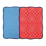 Microfiber Dish Drying Mat 15''x20'' Florals Printing Best for Home & Kitchen By Bear Family- Pack of 2 (B)