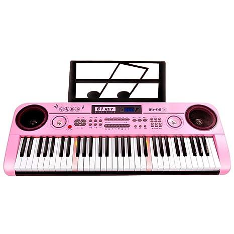 DUWEN Teclado para niños, 61 teclas, piano principiante, enseñanza con micrófono (Color