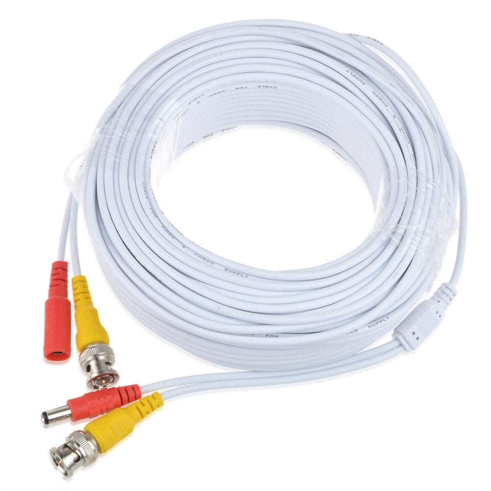 Pre-made All-in-One Cable with Connector for CCTV Security Camera (30m White)