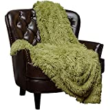 "Chanasya Super Soft Shaggy Longfur Throw Blanket | Snuggly Fuzzy Faux Fur Lightweight Warm Elegant Cozy Plush Sherpa Fleece Microfiber Blanket | for Couch Bed Chair Photo Props - 50""x 65"" - Green"