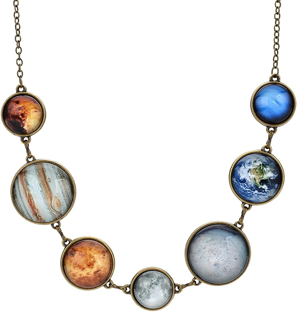 CHARMKING 7 Planet Necklace Sun Moon Galaxy Space Necklace Dangle Planets Solar System Charm Necklace for Women