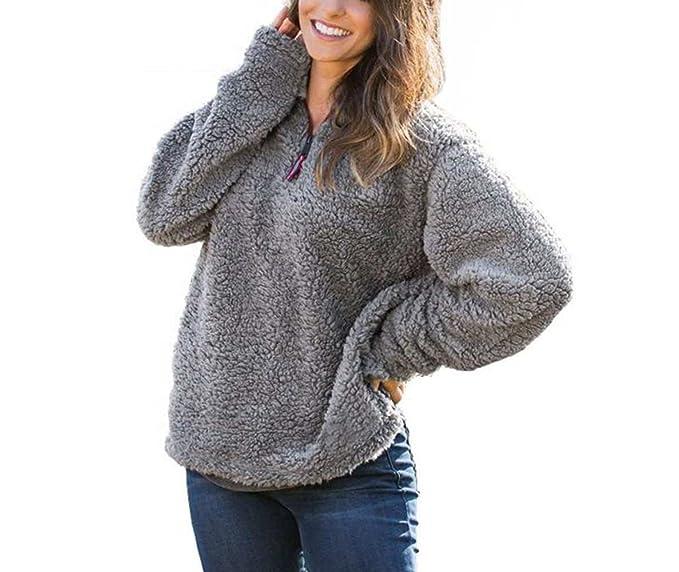 Mordarli Women's Teddy Fleece Hoodie Casual Tops Sweatshirt