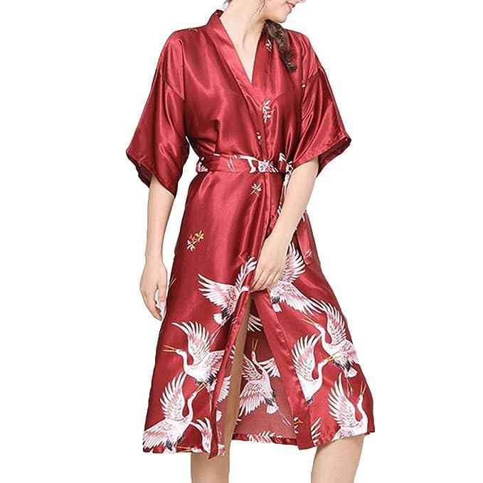 Mujer Kimono Ocasional Batas Chic Verano Largos Satín Vintage Pijama Mangas 3/4 V-Cuello Animal Print Albornoz Camisones con Cinturón: Amazon.es: Ropa y ...