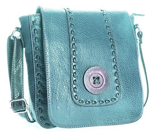 BHBS Bolso Pequeño Moderno para Dama tipo Mensajero en Imitación Piel con Detalle de Botón en el Frente 32x28x11 cm (LxAxP) Azul - verde azulado