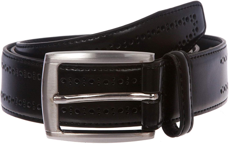 MONIQUE Men Classic Feathered Edge Quality Leather Dress Metal Buckle 32mm Belt