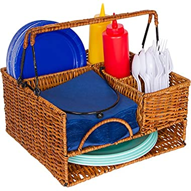 Trademark Innovations Rattan Tabletop Serveware with Condiment Organizer and Caddy