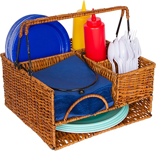 Rattan Napkin Holder (Trademark Innovations Rattan Tabletop Serveware with Condiment Organizer and)