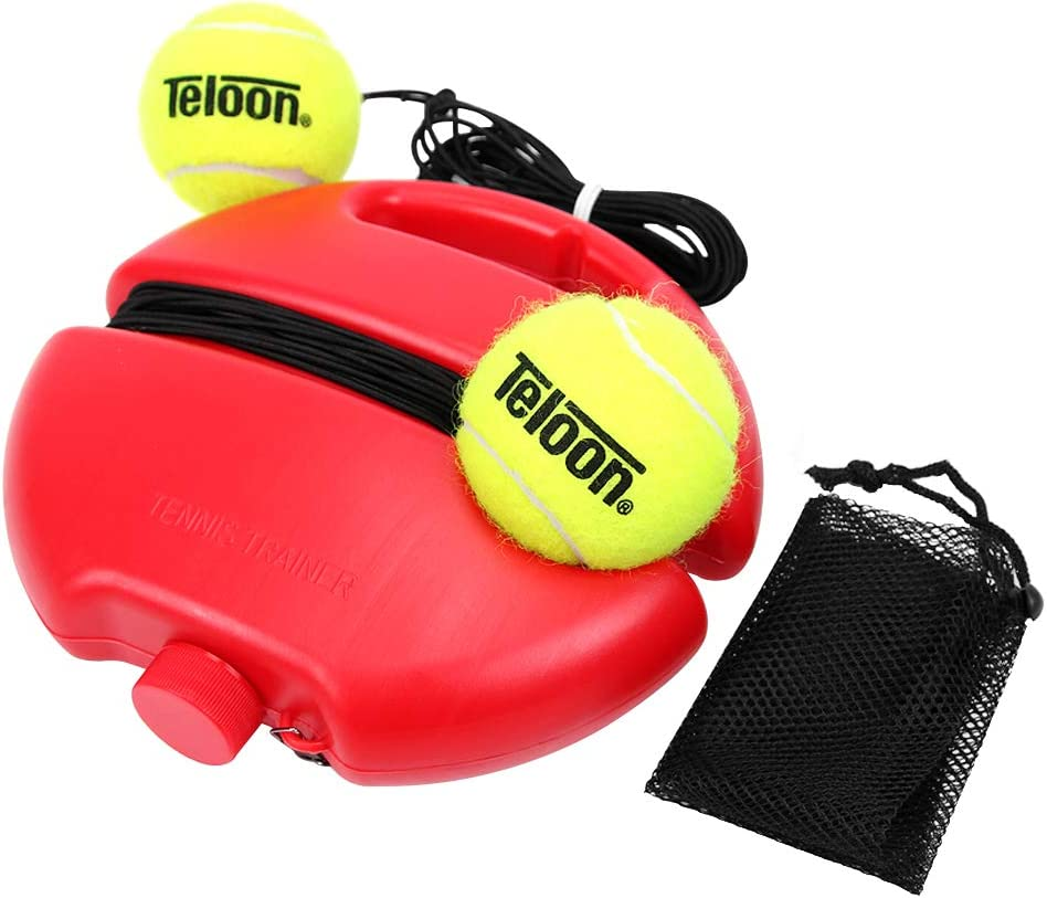 Teloon Solo Tennis Trainer Rebound Ball with String for Self Tennis Practice Training Tool for Adults or Kids Beginners with 2 String Balls Elastic and a Portable Mesh Bag : Sports & Outdoors