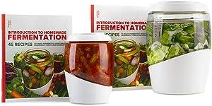 Mortier Pilon - Fermentation Kit Including 5L Glass Fermentation Jar + 2L Fermentation Jar + FREE Recipe books - Make Easy Homemade Fermented Foods (kimchi, pickles, sauerkraut, organic vegetables)