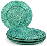 Core Bamboo 9033 Rattan and Bamboo Chargers, Sea, Set of 4