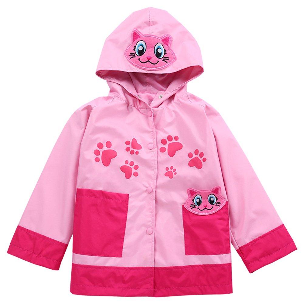 LZH Baby Girls Boys Waterproof Raincoat Windbreaker Hooded Bomber Jacket (100(for Age 2-3Y), Pink)