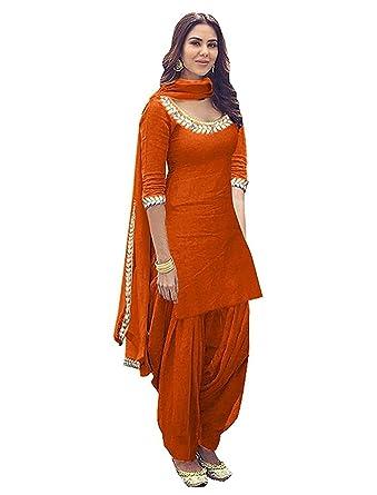 Globalia Creation Womens & Girls Cotton Orange Party Wear Long ...
