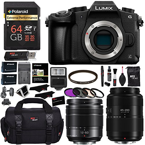 PANASONIC LUMIX DMC-G85MK G85 4K Mirrorless Camera, 12-60mm Power O.I.S. Lens, G II Vario 45-200mm Lens, Polaroid 64GB, Ritz Gear SLR Camera Bag, Filter Kit, Battery, Charger and Accessory (Slr Panasonic Lumix Cameras)