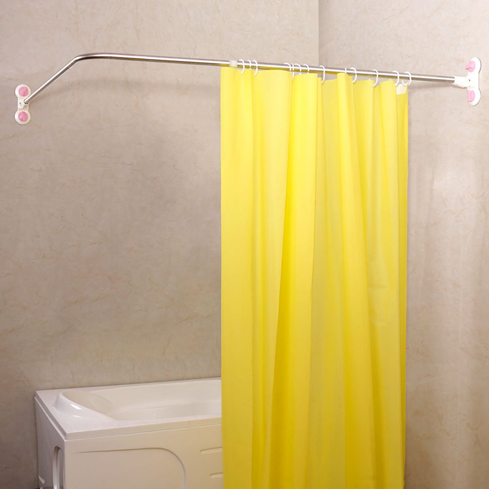 Amazon.com: Baoyouni Curved Shower Curtain Rod Suction Cups L ...