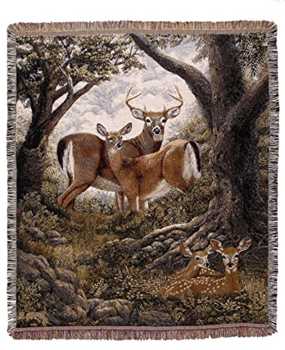 Simply Home Deer Hidden Eyes Nature Deluxe Tapestry Throw Blanket Made in the USA SKU TPM ()