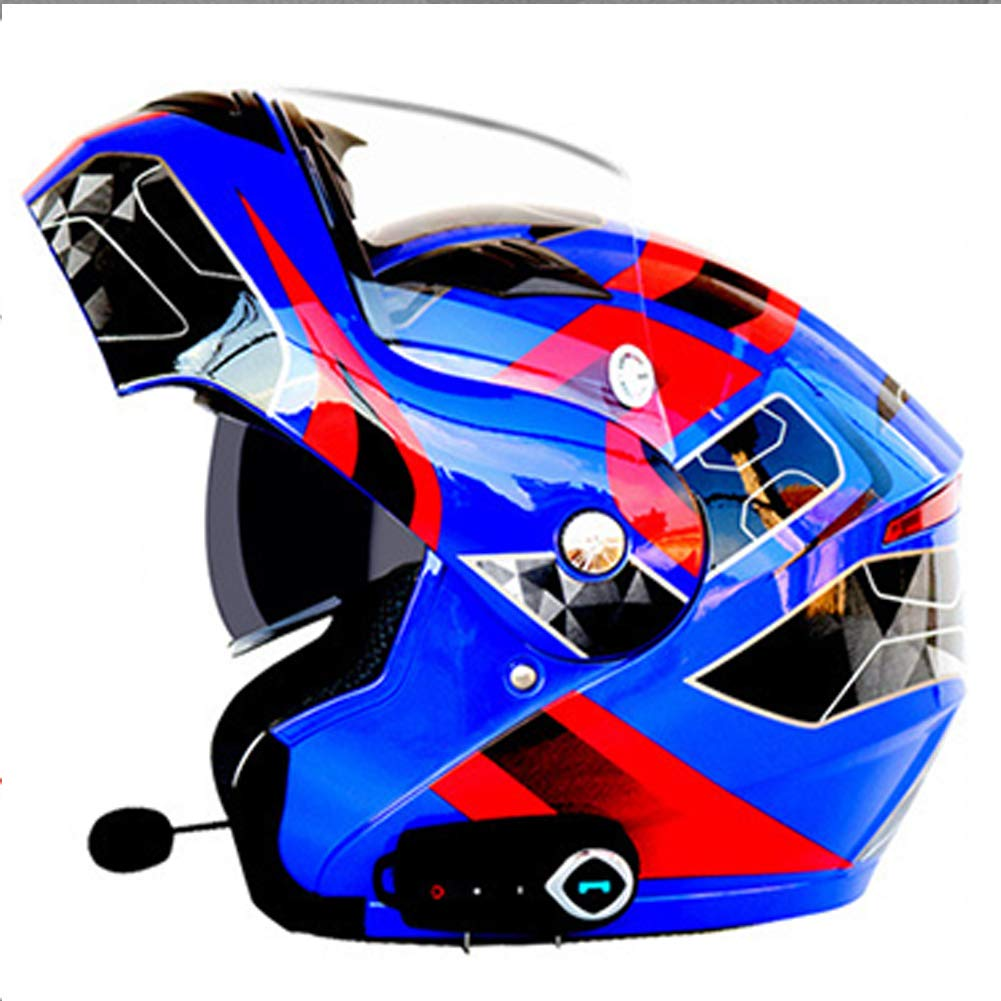 Anti-Fog Double Lens Motorcycle Blautooth Helmet, Electric Car Unveiled Full Face Helmet, Comes with Blautooth + FM
