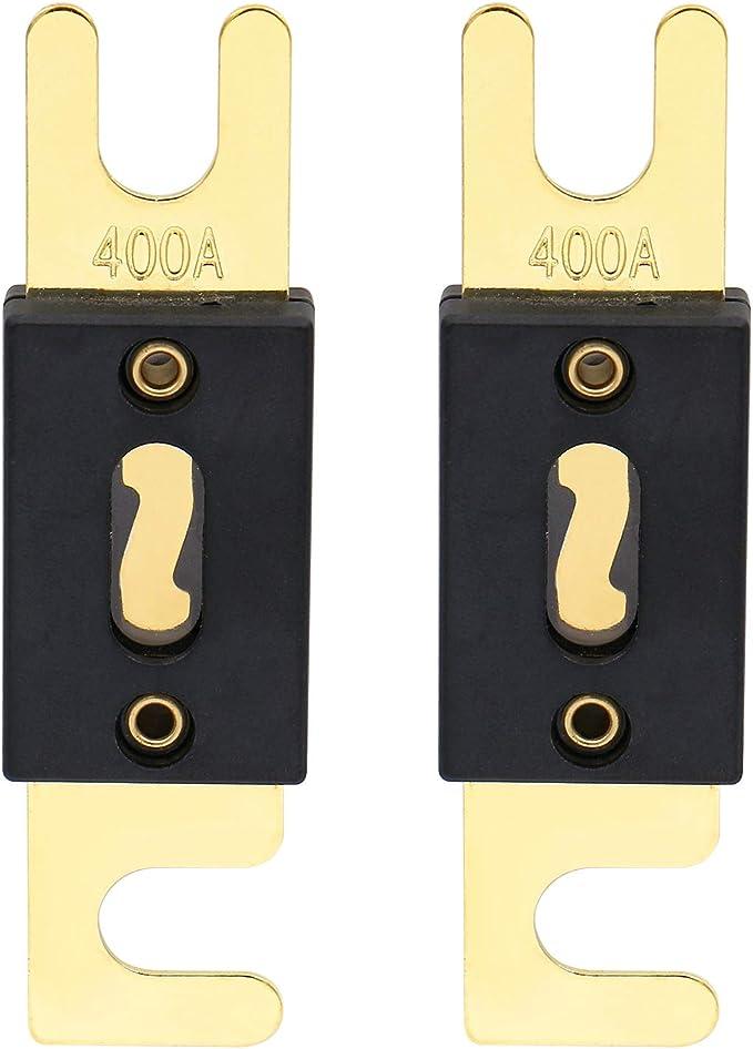 Heschen Anl Sicherung 400 A Für Kfz Audiosysteme Goldfarben Schwarz 2er Pack Anl 400 Auto