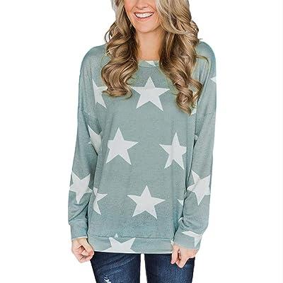 SHOBDW Casual de Las Mujeres de impresión de la Estrella de la Camiseta Lindo Cuello Redondo de otoño Invierno de Manga Larga Camisa de la túnica del botón Tops: Ropa y accesorios