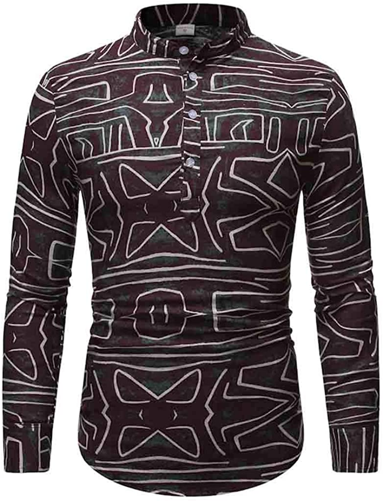 iYBUIA Mens Slim Fit Paisley Printed Slim Fit Long Sleeve