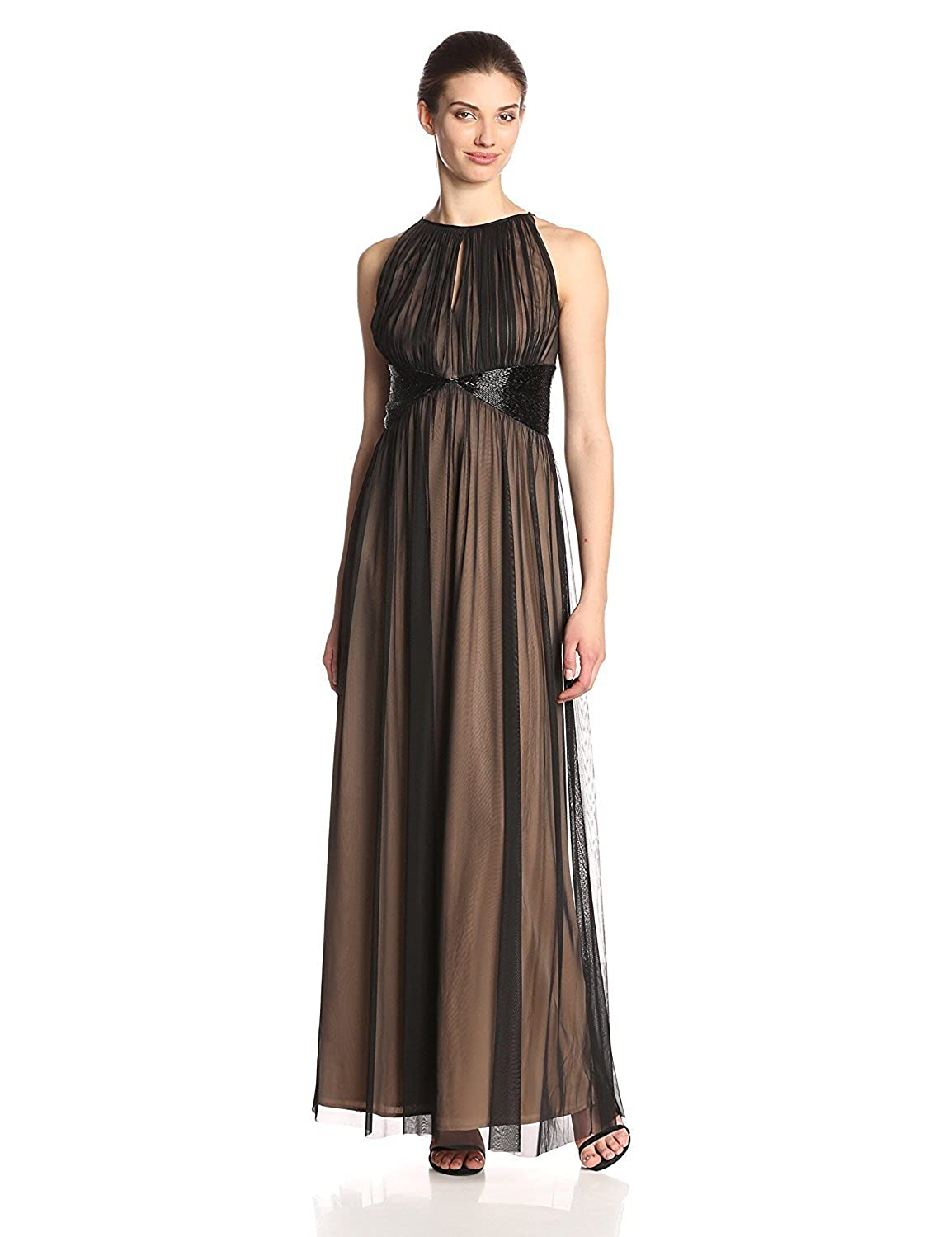 JS Boutique Women's Long Mesh Gown Contrast Color Lining and Tri Beads Black/Nude 6 [並行輸入品] B075CJS73Z