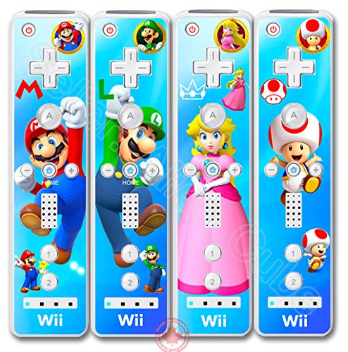 Super Mario Luigi Princess Peach Toad Vinyl with Lamination Protective Skin Sticker Cover Decal for Nintendo Wii Remote -