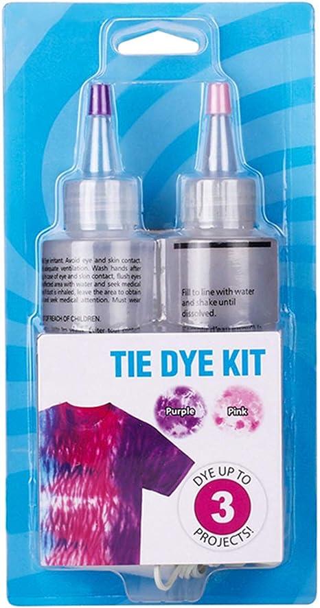 Kit de teñido anudado, 2 colores para camisa, teñido de tela, pigmento con bandas de goma para teñir ropa colorida, bolsa, bufanda, tintes de graffiti ...