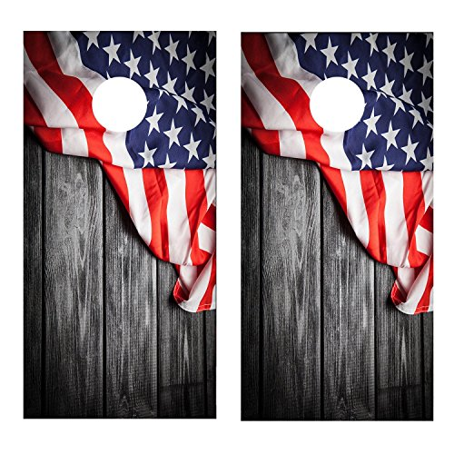 Vintage American Flag Cornhole Decal WRAP Set Decals