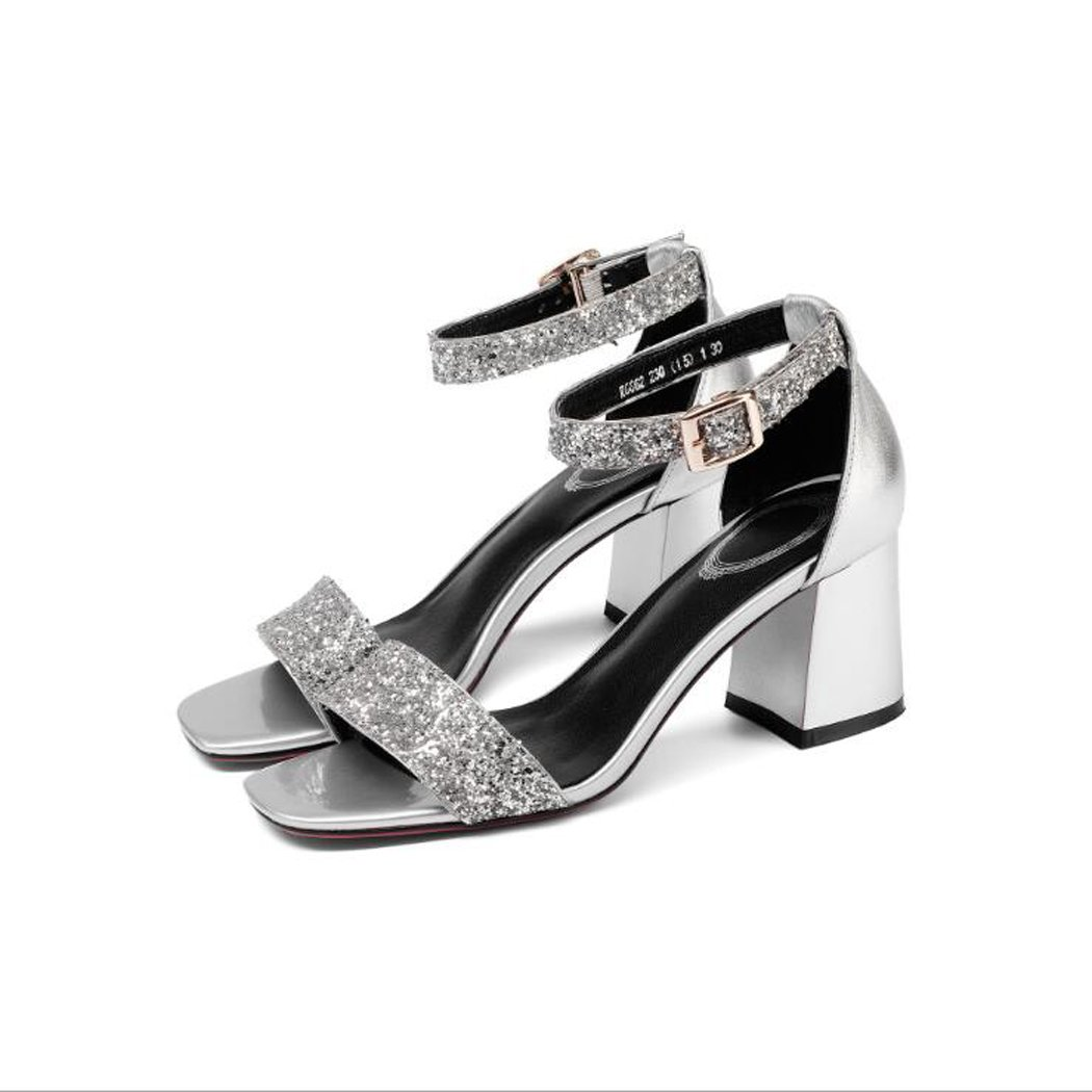 ZZZJR Sandalias de Mujer Open-Toed Women's Shine Leather Tobillera Strap Mid Heel Mary Jane Special Fabric Sandals (Color : Plata, Tamaño : 34) 34|Plata