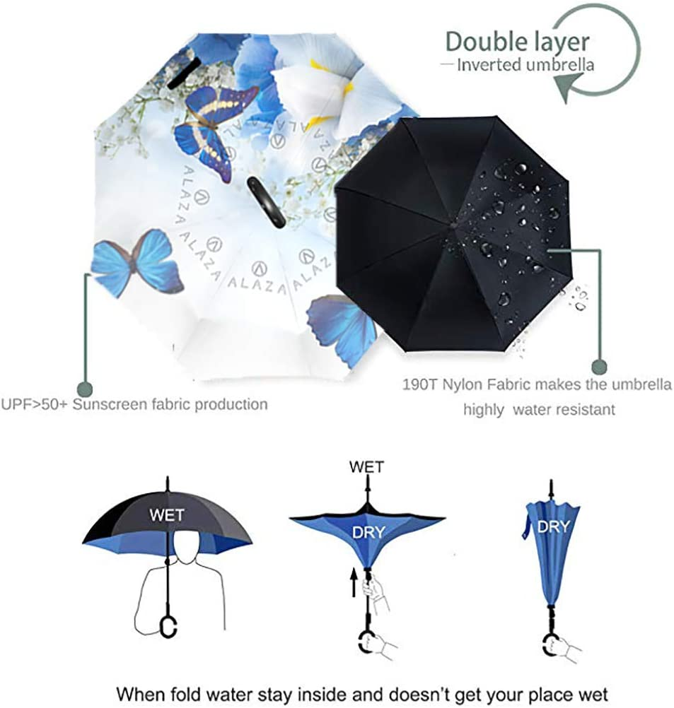 Flower Cartoon Background Double Layer Inverted Umbrella with C-Shaped Handle Anti-UV Waterproof Windproof Straight Umbrella for Car Rain Outdoor Use