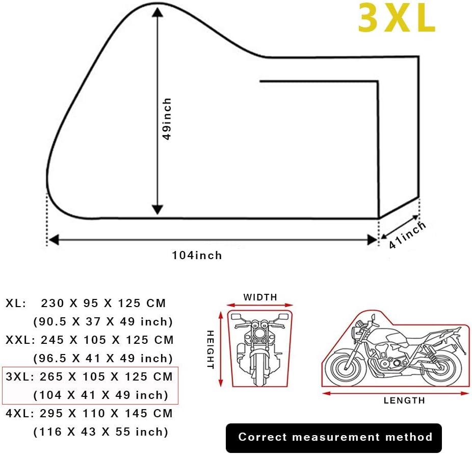 Respirante XL LucaSng Housse Moto Universelle r/ésistante aux Rayons UV Noir 230X95X125cm Anti-poussi/ère Housse /étanche 190T