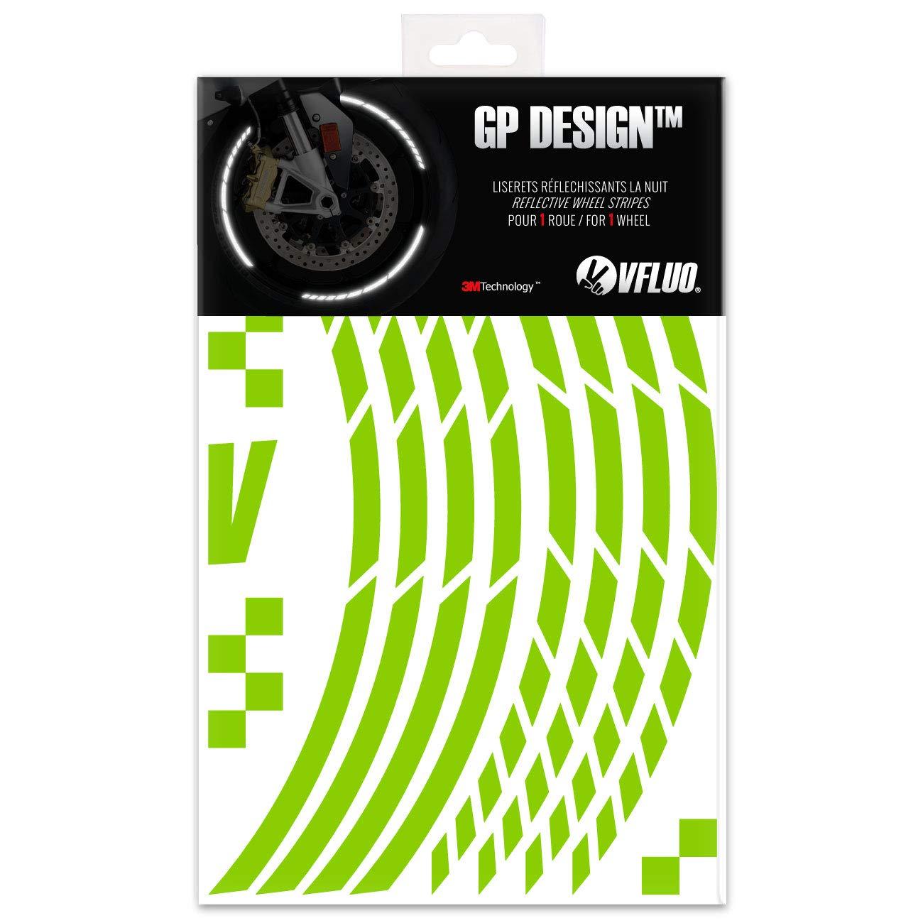 Kit de Cintas VFLUO GP Design/™ Anchura XL : 10 mm 1 Rueda Blanco//Plata 3M Technology/™ Rayas Retro Reflectantes para Llantas de Moto
