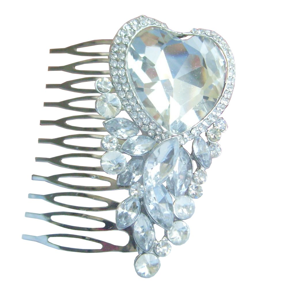 Sindary Wedding Headpiece Silver-tone Clear Rhinestone Crystal Bridal Hair Comb Wedding Hair Jewelry