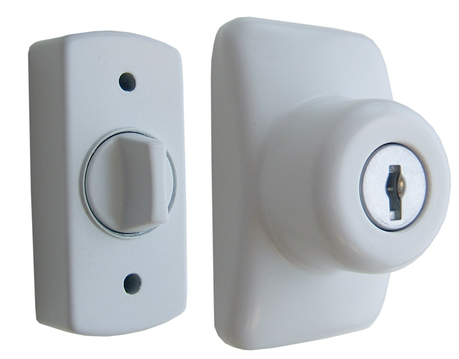 Ideal Security GL Keyed Deadbolt For Storm and Screen Doors Easy to Install White