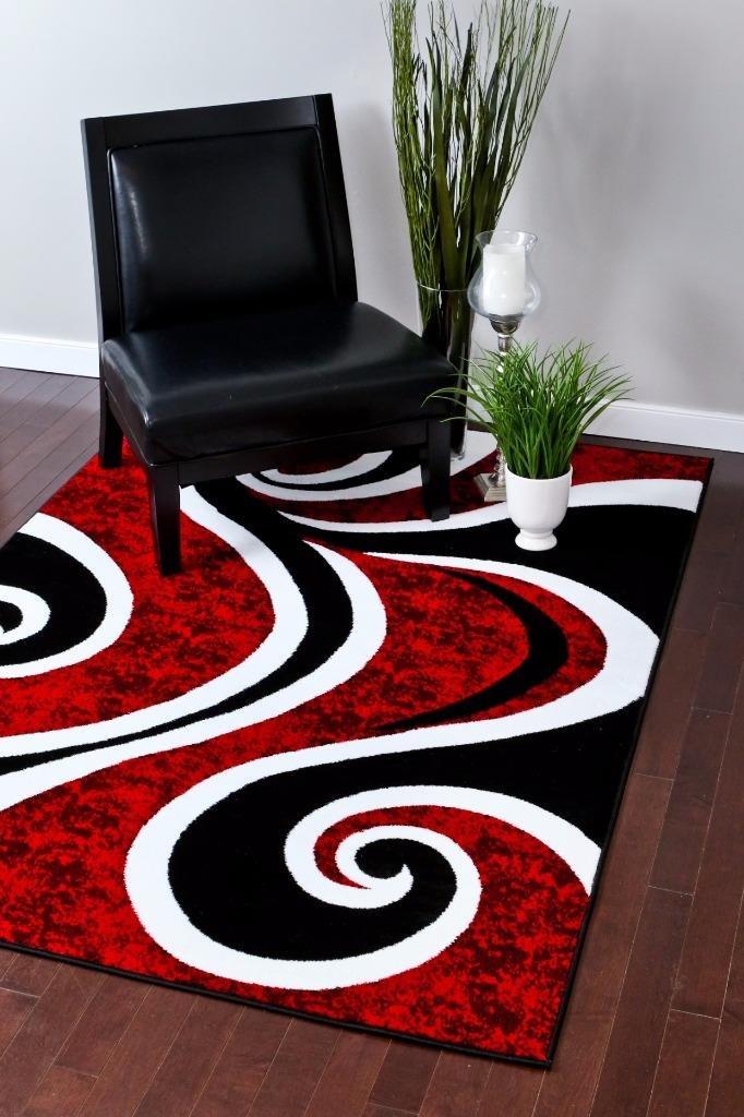 Amazon.com: Alfombra con diseño abstracto, color rojo ...