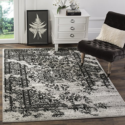 Safavieh Adirondack Collection ADR101A Silver and Black Oriental Vintage Distressed Area Rug (6′ x 9′)